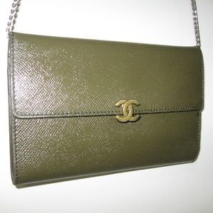 Rare CHANEL Leather Wallet Clutch-Cross Body Bag